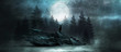 canvas print picture Futuristic night landscape with abstract forest landscape. Dark natural forest scene with reflection of moonlight in the water, neon blue light. Dark neon circle background, dark forest, deer.