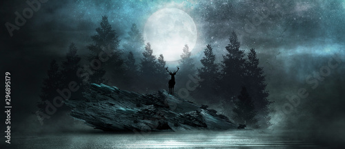 Obraz Futuristic night landscape with abstract forest landscape. Dark natural forest scene with reflection of moonlight in the water, neon blue light. Dark neon circle background, dark forest, deer. - fototapety do salonu