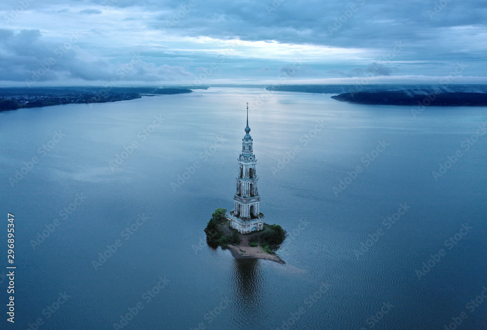 Fototapety, obrazy: Kalyazin Bell tower on Volga river. Aerial View.