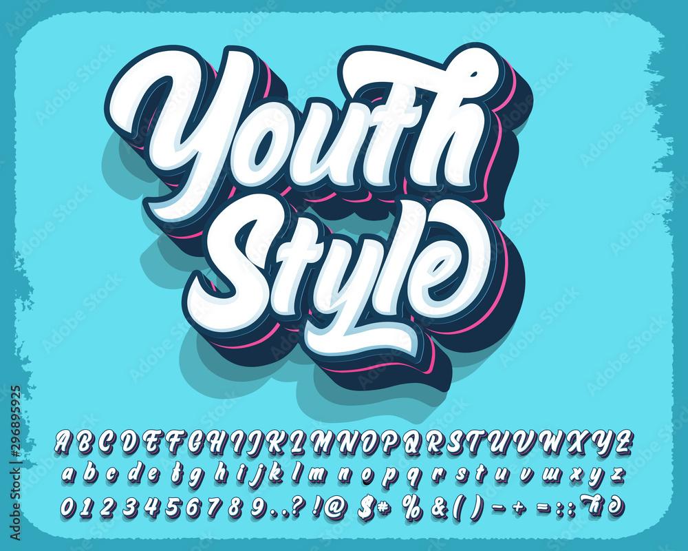 Fototapeta Modern style script font and number