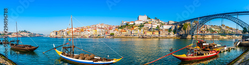 Panorama of the city of Porto and the Dom Luis I bridge on the Douro River in Portugal - 296896788