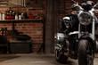canvas print picture - Vintage bike in dark garage
