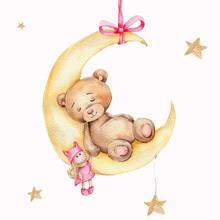 Cute Slepping Teddy Bear On Th...