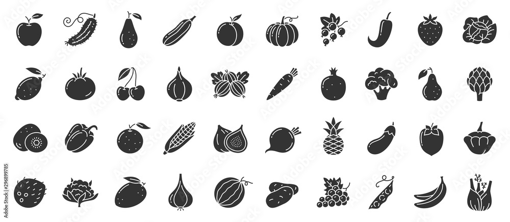 Fototapety, obrazy: Fruit berry vegetable food glyph icon vector set