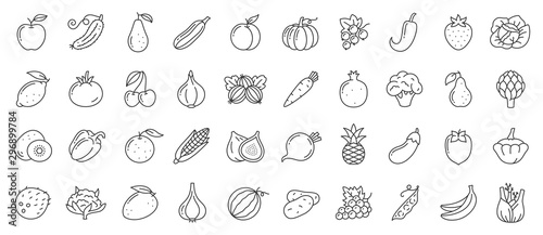 Fotografiet Fruit berry vegetable food line icon vector set