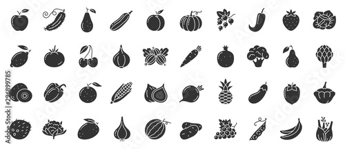 Cuadros en Lienzo  Fruit berry vegetable food glyph icon vector set