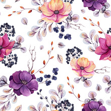 Seamless Pattern Of Watercolor Autumn Berries And Colorful Flowers