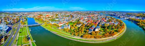 Fototapeta Aerial. Panoramik landscape of Krakow and river Vistula, Poland. obraz