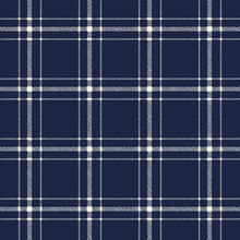 Classic Hand-Drawn Two-Color Blue And White Plaid Checks Vector Seamless Pattern