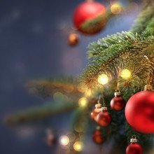 Christmas Decorations In Bright Blue Red And White Shiny Colors With Christmas Lights With Blurred Background.