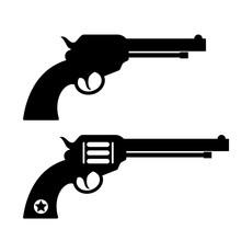 Gun Revolver Silhouette Vector...