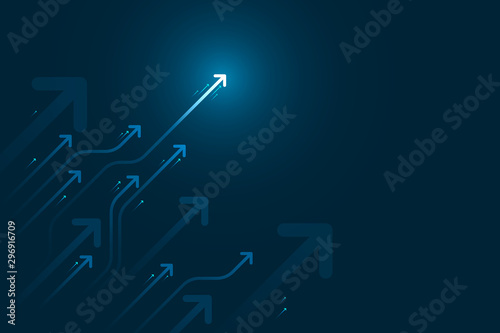 Photo Light arrow circuit on blue background illustration, copy space composition, business growth concept