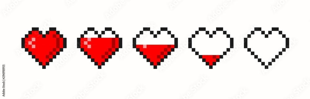 Fototapeta Pixel game life bar. Vector art 8 bit health heart bar. Gaming controller, symbols set.