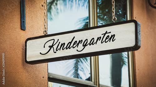 Street Sign to Kindergarten