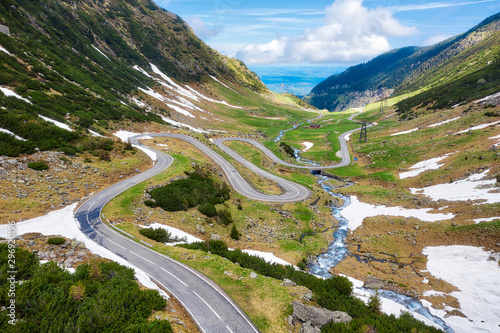 Transfagarasan with the last snow of the winter, Romania, taken in May 2019 Wallpaper Mural
