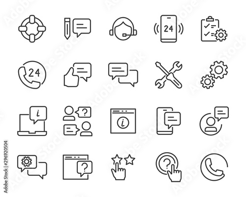 set of support icons, assist, communication, help Wallpaper Mural
