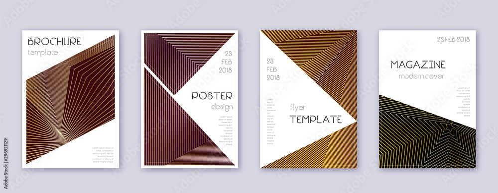 Fototapety, obrazy: Triangle brochure design template set. Gold abstra