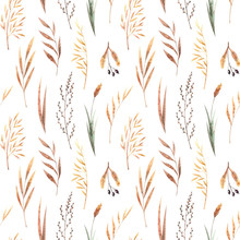 Watercolor Seamless Pattern With Dried Winter Herbs And Leaves Isolated On White Background. Autumn Illustration In Brown Colors. Hand Drawn Floral Backdrop Perfect For Interior Fabrics, Wallpapers.