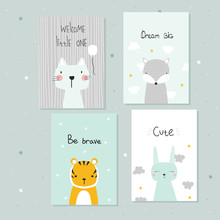 Set Of Cute Pastel Cards For B...