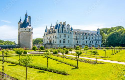 Garden Poster Old building Chenonceau Castle (Chateau de Chenonceau), Loire valley, France