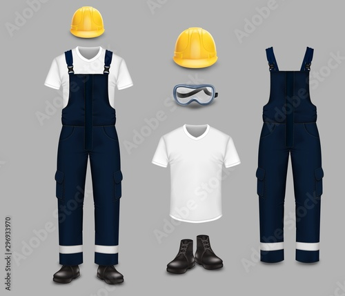 Foto Work wear and uniform set, vector isolated illustration