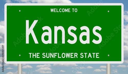 Fotografía  Rendering of a green 3d highway sign for Kansas