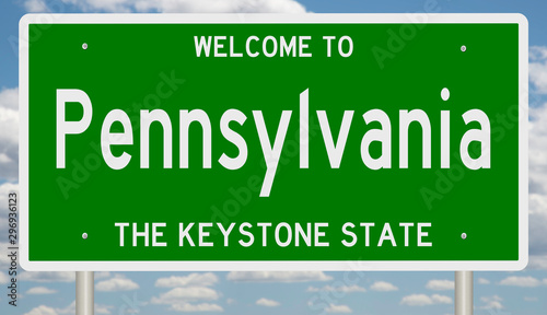 Fotografie, Obraz  Rendering of a green 3d highway sign for Pennsylvania