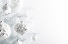 Decorated White Ornaments Christmas Tree On White Background. Merry Christmas And Happy Holidays Greeting Card, Frame, Banner. New Year.