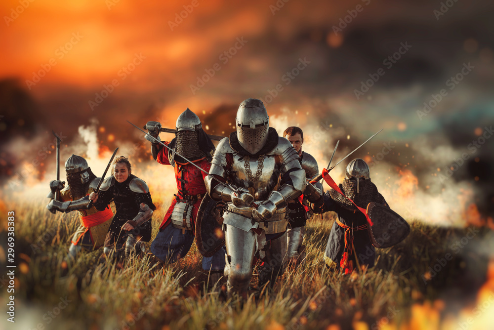 Fototapety, obrazy: Medieval knights on battle field