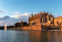 Sunset On La Seu, The Cathedral Of Palma De Mallorca, And Royal Palace Of La Almudaina - Balearic Islands.