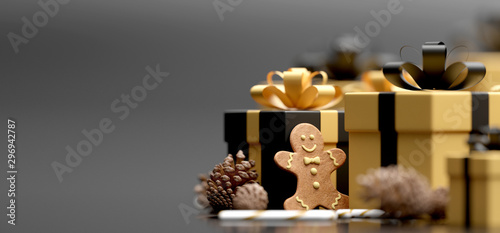 Stampa su Tela  Christmas white background with christmas balls and decoration - 3d rendering