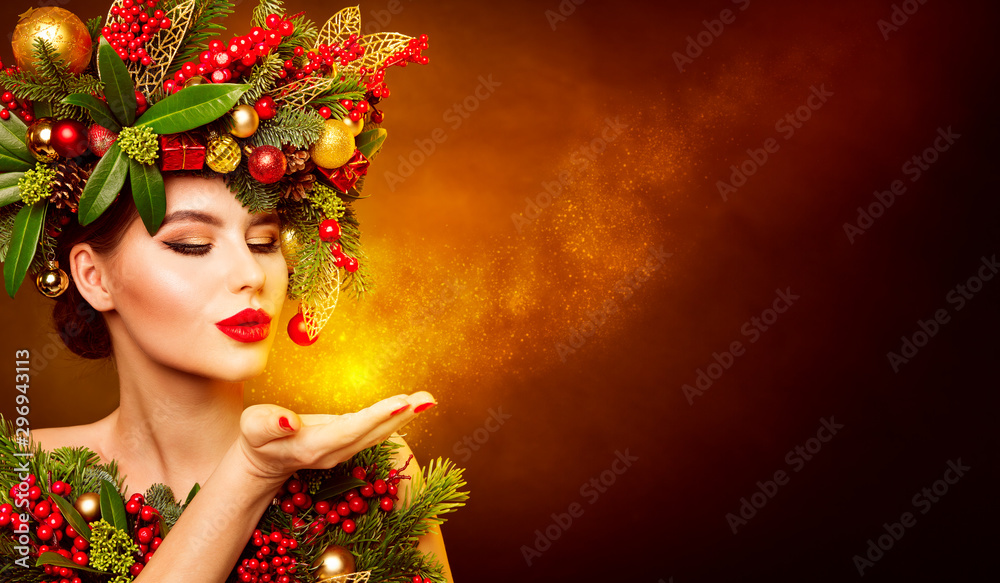 Fototapety, obrazy: Christmas Fashion Model Beauty Makeup, Wreath Hairstyle. Xmas Woman Blowing to Hand, Beautiful Artistic Face Portrait