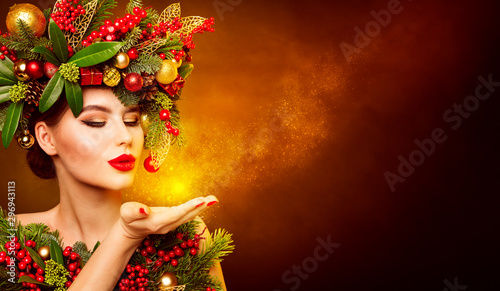 Door stickers Hair Salon Christmas Fashion Model Beauty Makeup, Wreath Hairstyle. Xmas Woman Blowing to Hand, Beautiful Artistic Face Portrait