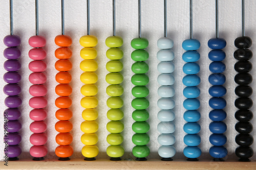 Photo background from multi-colored children's abacus