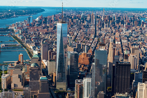 Cuadros en Lienzo NEW YORK - JULY 02 2016: Aerial view of the Freedom Tower at One World Trade Cen