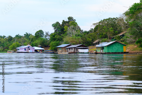 Houses along Amazonas river. Brazilian panorama Wallpaper Mural