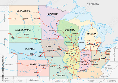 Road map of the Midwest United States of America - Buy this ...