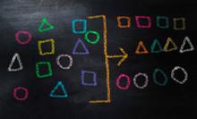 Drawing Geometry To Categorize On Chalkboard,  Categorizing Geometry Concept With Colorful Chalk