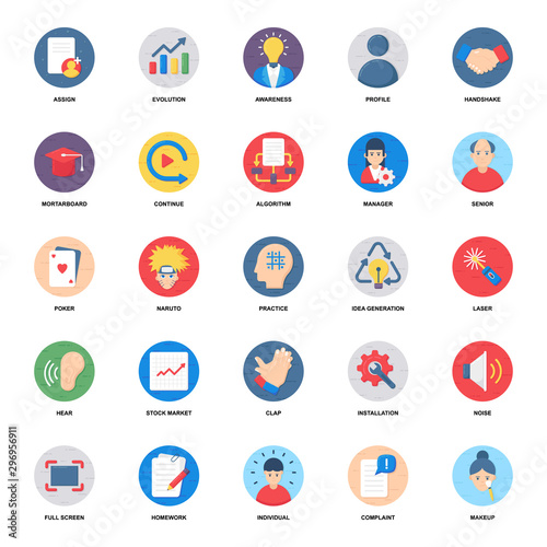 Employee Management Flat Icons Pack Wallpaper Mural