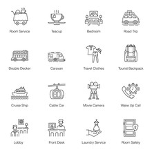 Hotel Services Line Icons Pack