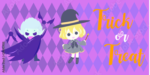 halloween witch and dracula chibi cartoon Wallpaper Mural