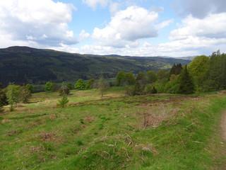 Fototapeta na wymiar Scottish hill range scene on a nice sunny day in May