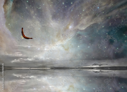 Fotobehang Donkergrijs Eagle in Surreal Night Sky