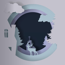 Vector Paper Cut, Overlapping Circles With Elk, Pine Trees And Winter Houses For The Background Of Christmas And New Years