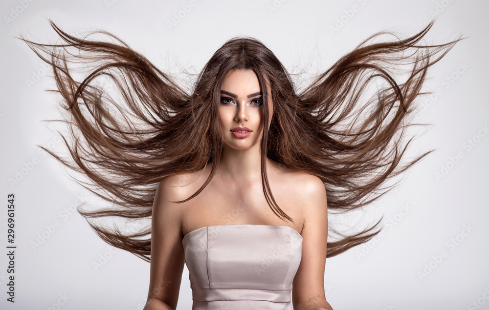 Fototapety, obrazy: Portrait of a beautiful woman with a long hair.