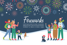 Fireworks Festival Invitation With Happy Families Celebrating New Year Holidays.