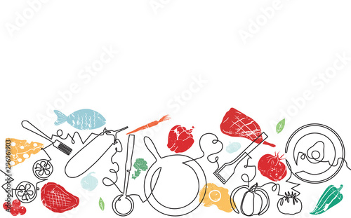 Fototapeta Background with Utensils and Food. Cooking Horizontal Pattern. Vector illustration. obraz