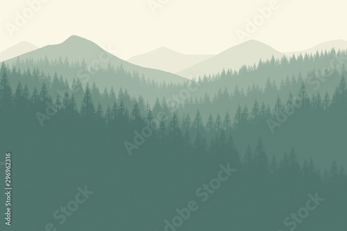 Door stickers Khaki Flat landscape forest for background , wallpaper