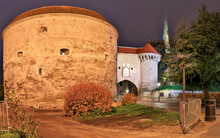 Estonian Maritime Museum Located In The Fat Margaret Tower In The Old Town Of Tallinn At Night