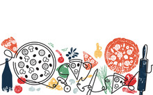 Pizza Background. Pizza Pattern. Continuous Line Drawing.  Vector Illustration.
